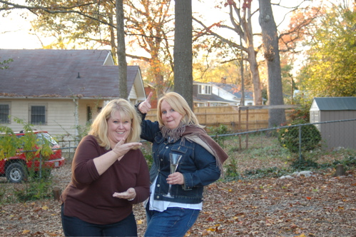 Holly and Patti Cutting Up in the Backyard