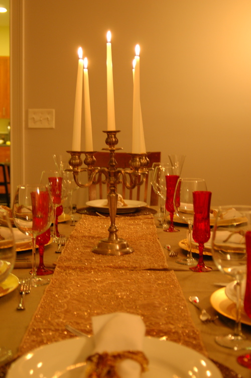 Table Set With Goodwill Candelabra - You Can Find Anything There!