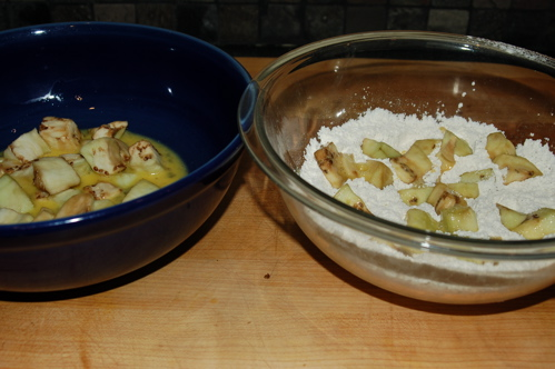 Beaten Eggs and Seasoned Flour